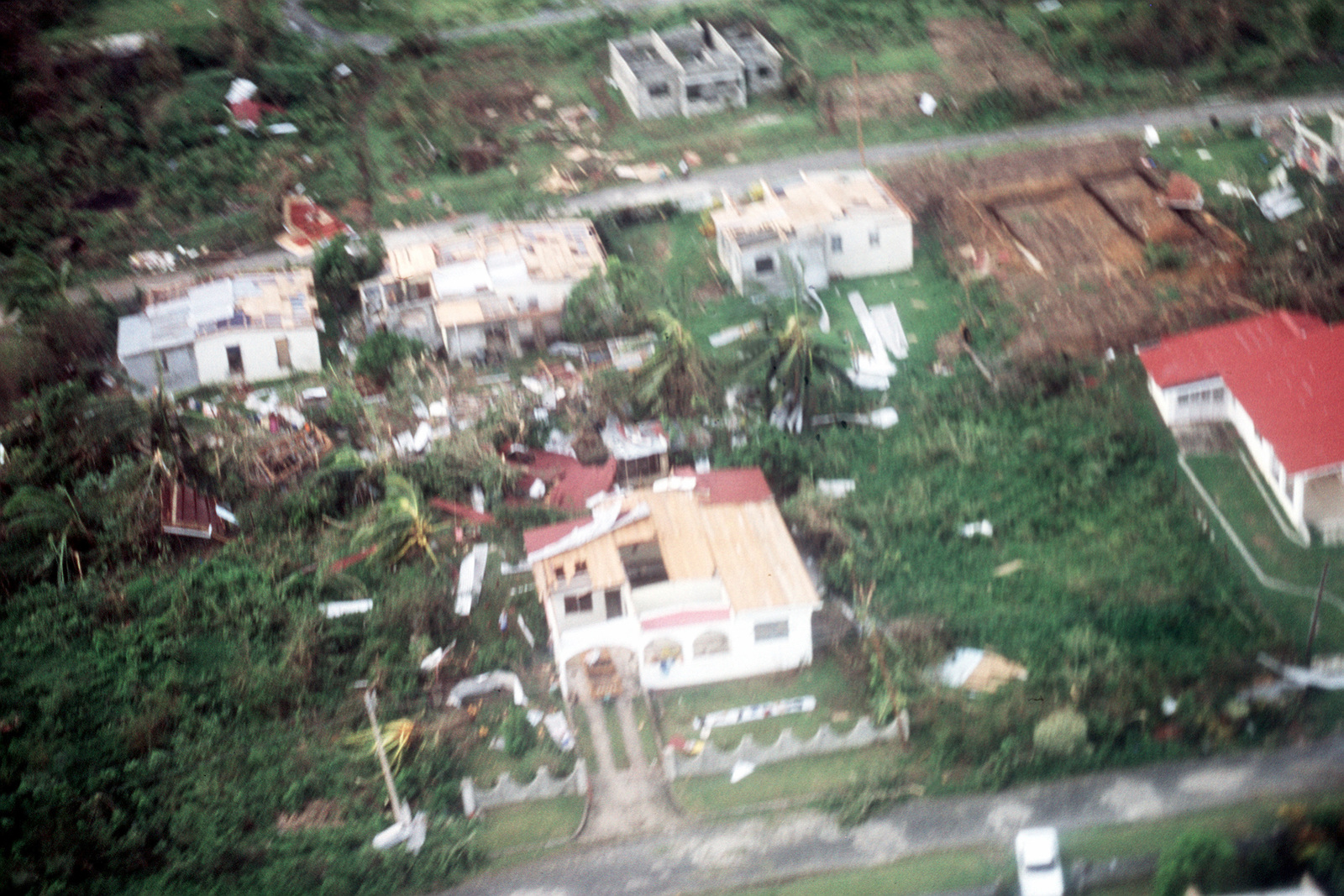 An aerial of some of the damaged buildings and uprooted trees left in the wake of Hurricane Gilbert, which pounded the island with 180-mph winds and torrential rains on September 12 and 13