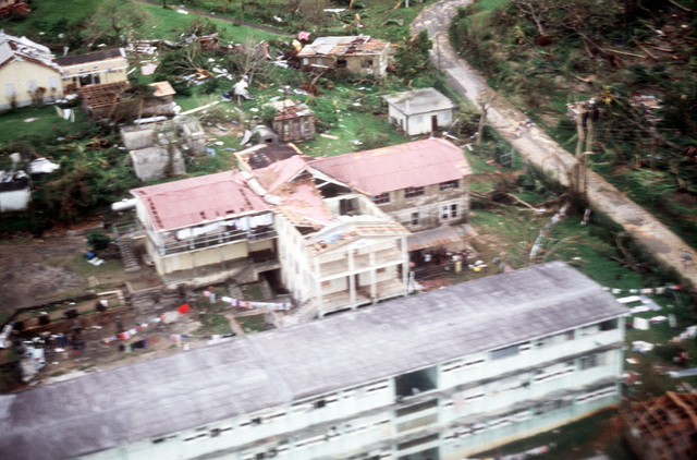 An aerial view of some of the destruction caused by the 180-mph winds and torrential rains brought by Hurricane Gilbert on September 12 and 13