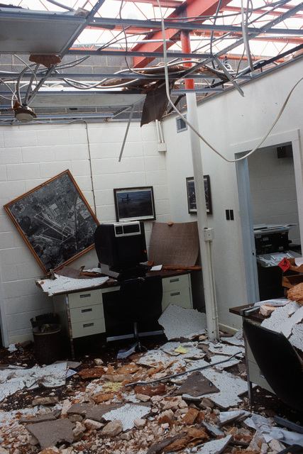 An interior view of Building 1437, the mobility computer center at the San Antonio Air Logistics Center, in the aftermath of Hurricane Gilbert