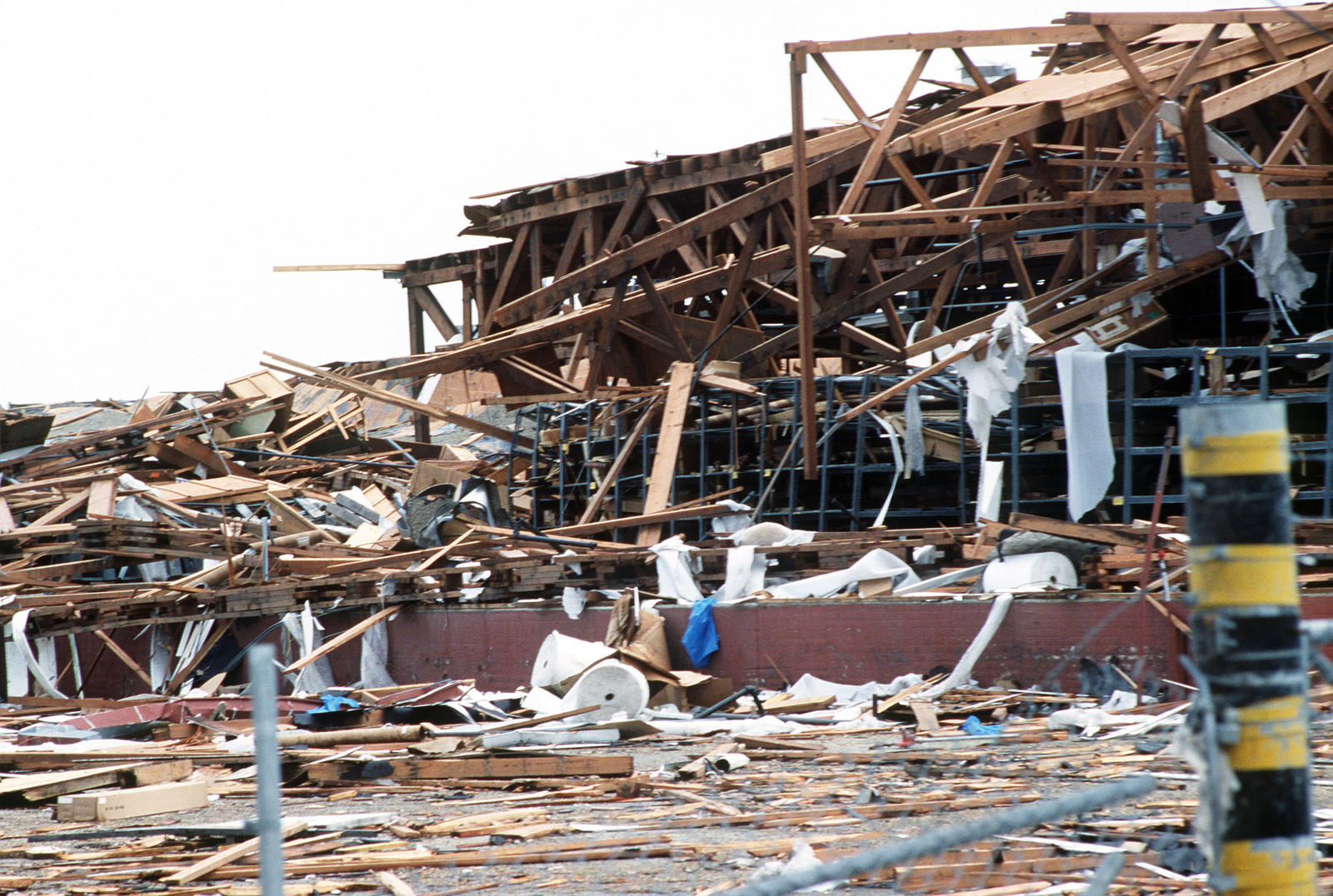 An overview of a warehouse destroyed by Hurricane Gilbert at the San Antonio Air Logistics Center