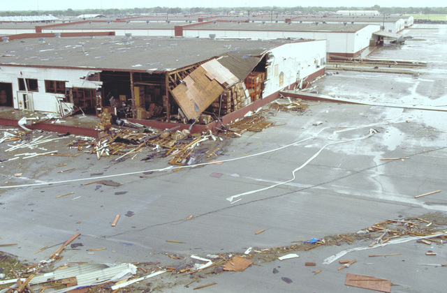 An overview of warehouses destroyed by Hurricane Gilbert at the San Antonio Air Logistics Center