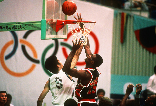 ENSIGN David Robinson of the U.S. Olympic men's basketball team goes up for a shot during a preliminary round game against the team from China during the XXIV Olympic Games