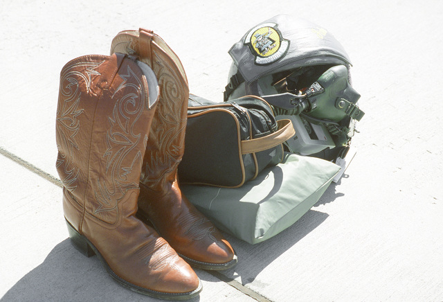 A pilot's ready-for-shootout gear during Gunsmoke '87, an Air Force-wide tactical gunnery and bombing competition sponsored by the Tactical Air Command and hosted by the Tactical Fighter Weapons Center at Nellis