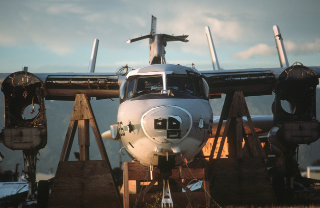 A front view of a stripped E-2 Hawkeye aircraft resting on blocks at the Aerospace Maintenance and Regeneration Center. More that 2,500 aircraft from all services are stored at the center, only a small percentage of which are scrapped. Most of the aircraf