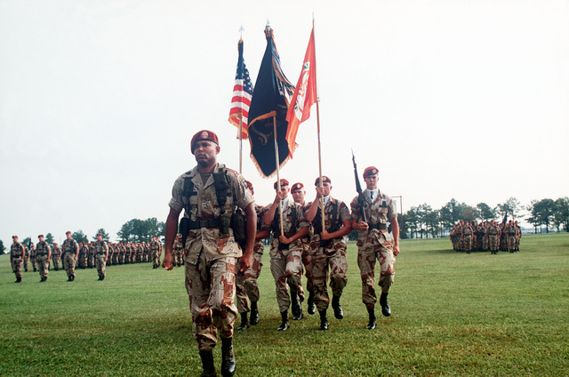 Members of the 1ST Battalion, 187th Airborne Division (Air Assault) color guard present the colors during a battalion formation held before the unit's departure for the Sinai. The unit, commanded by Lieutenant Colonel Lou Huddleston, is replacing the 3rd Battalion, 47th Infantry, 9th Infantry Division (Motorized)