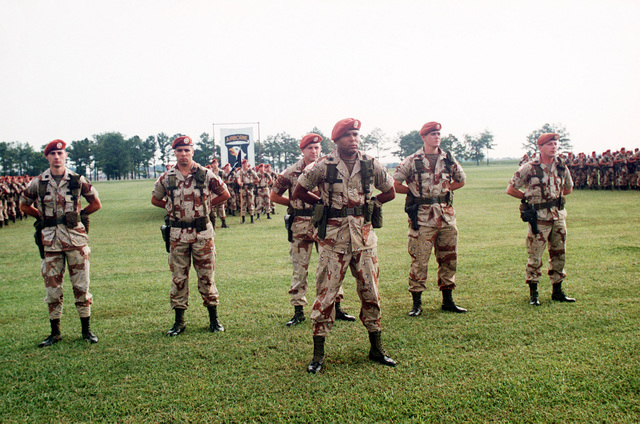 Members of the 1ST Battalion, 187th Infantry, 101st Airborne Division (Air Assault) stand at parade rest during a battalion formation held before the unit's departure for the Sinai. The unit, commanded by Lieutenant Colonel Lou Huddleston, is replacing the 3rd Battalion, 47th Infantry, 9th Infantry Division (Motorized)