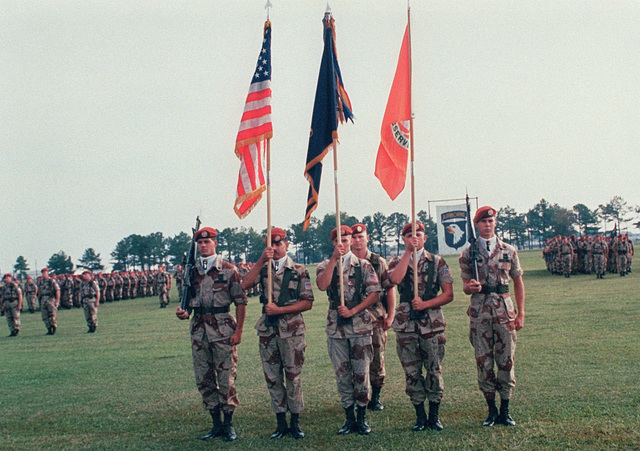 Members of the 1ST Bn., 187th Inf., 101st Abn. Div. (Air Assault) color guard present the colors during a battalion formation held before the unit's departure for the Sinai. The unit, commanded by LT. COL. Lou Huddleston, is replacing the 3rd Bn., 47th Inf., 9th Inf. Div. (Motorized)