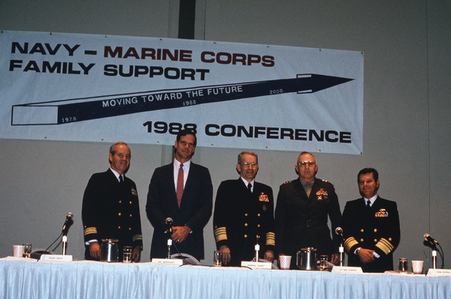 Attending the 1988 Navy-Marine Corps Family Support Conference in Norfolk, Virginia are, left to right:  Rear Admiral (RDML) (lower half) Ralph W. West, Jr., Director, Human Resources Management Division OPNAV; Kenneth P. Bergquist, Assistant Secretary of the Navy for Manpower and Reserve Affairs; Admiral (ADM) Leon A. Edney, Vice CHIEF of Naval Operations; Lieutenant General (LGEN) John I. Hudson, Deputy CHIEF of STAFF for Manpower, United States Marine Corps (USMC); and Vice Admiral (VADM) Jeremy M. Boorda, CHIEF of Naval Personnel, Deputy CHIEF of Naval Operations (Manpower, Personnel and Training)