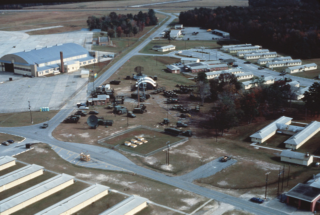An aerial view of Savannah Field Training Center, a central operations location during Exercise CORONET STROKE 88