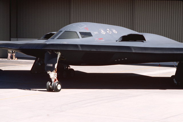 A close-up side view of the newly introduced B-2 advanced technology bomber on the flight line in front of Air Force Plant 42 during the roll out ceremony