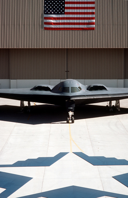 A front view of the B-2 advanced technology bomber at its rollout at Air Force Plant 42