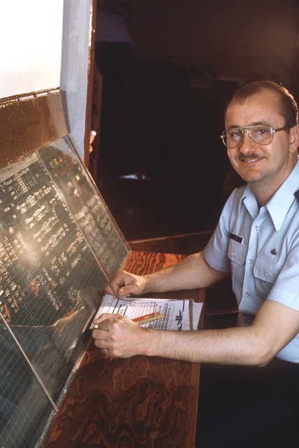 MSGT Willis Ison, a senior maintenance controller, schedules the aircraft repair workload for the base