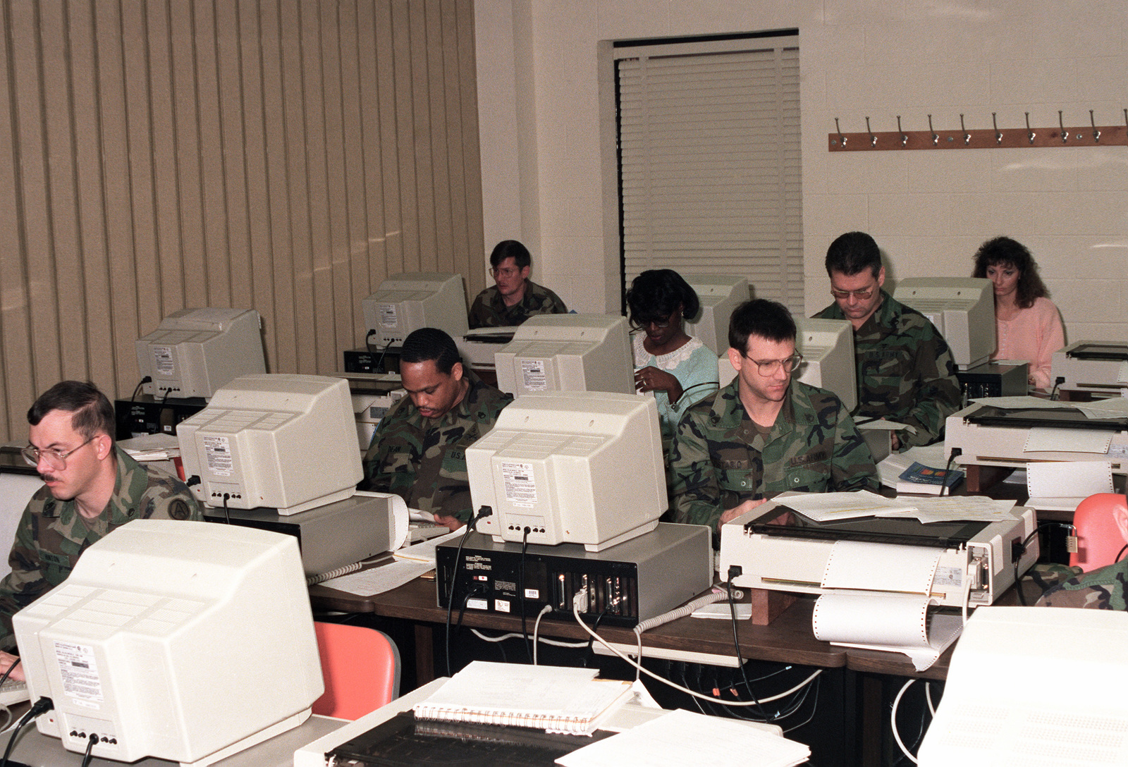 Non-commissioned officer students at the Army's new Computer Science School learn ADA, a computer language, in an advanced class