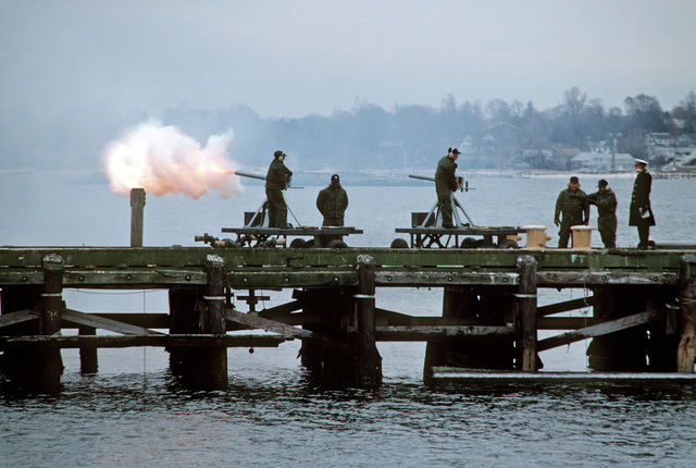A gun salute is fired during the commissioning ceremony for the nuclear-powered fleet ballistic missile submarine USS TENNESSEE (SSBN 734).  The TENNESSEE, which is being commissioned at the Naval Underwater Systems Center, is the first submarine equipped to carry the new Trident II D-5 missile