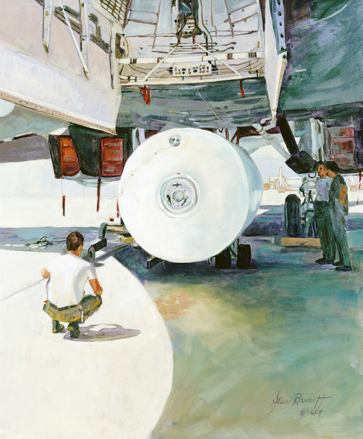 "A hand-sketched illustration by Artist:   Alice Barrett.  Artwork:""'180'Fuel Tank Loading, Edwards AFB CA"".  US Air Force Art Collection"