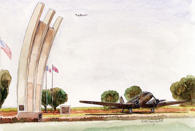 "A hand-sketched illustration by Artist:  Craig Randall.  Artwork:""Die Luftbrucke - Rhein Main"".  US Air Force Art Collection"