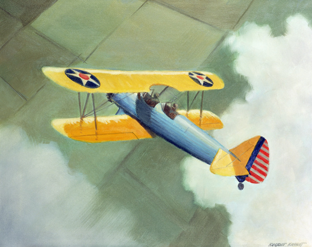 """A hand-sketched illustration by Artist:  Eugene W. Knight.  Artwork:""""The Last Biplane"""".  US Air Force Art Collection"""