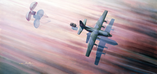 """A hand-sketched illustration by Artist:  Gary Meyer.  Artwork:""""Air Drop"""".  US Air Force Art Collection"""