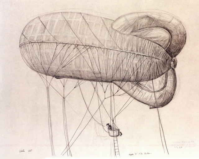 """A hand-sketched illustration by Artist:  Gregory K.H. Bryant.  Artwork:""""A Type""""K'Kite Balloon"""".  US Air Force Art Collection"""