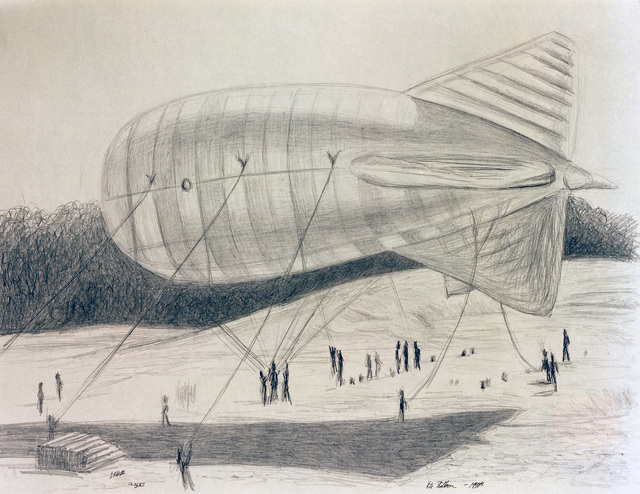 """A hand-sketched illustration by Artist:  Gregory K.H. Bryant.  Artwork:""""Kite Balloon"""".  US Air Force Art Collection"""
