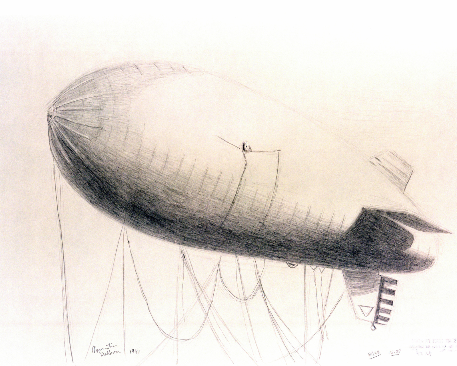 """A hand-sketched illustration by Artist:  Gregory K.H. Bryant.  Artwork:""""Observation Balloon - 1941"""".  US Air Force Art Collection"""