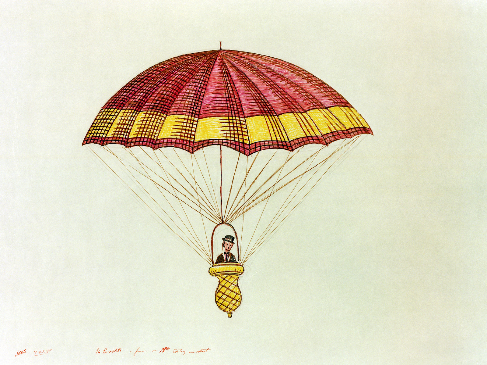 """A hand-sketched illustration by Artist:  Gregory K.H. Bryant.  Artwork:""""Parachute"""".  US Air Force Art Collection"""