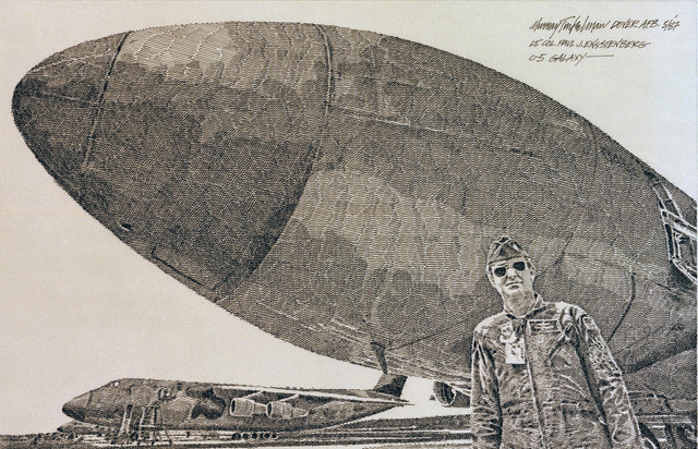 "A hand-sketched illustration by Artist:  Murray Tinkelman.  Artwork:""LTCOL P. Engstenberg, C-5A Galaxy"".  US Air Force Art Collection"