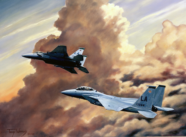 """A hand-sketched illustration by Artist:  Terry Wofford.  Artwork:""""Arizona Thunder"""".  US Air Force Art Collection"""