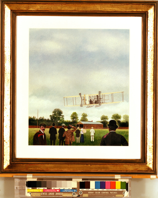 """A hand-sketched illustration by Artist:  Wendell Minor.  Artwork:""""1908 Wright Flyer, France"""".  US Air Force Art Collection"""