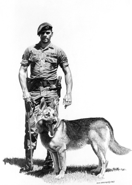 "A hand sketched illustration by:  US Air Force (USAF) Art Collection.  Artist:  Dick Kramer.  Artwork:""Guard Dog at Minot"""