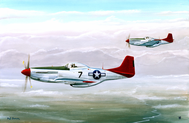 "A hand sketched illustration by:  US Air Force (USAF) Art Collection.  Artist:  Mel Brown.  Artwork:""Red Tails"""
