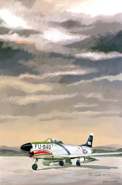 """A hand sketched illustration by:  US Air Force (USAF) Art Collection.  Artist:  Rita Guzzi.  Artwork:""""F-86D"""""""