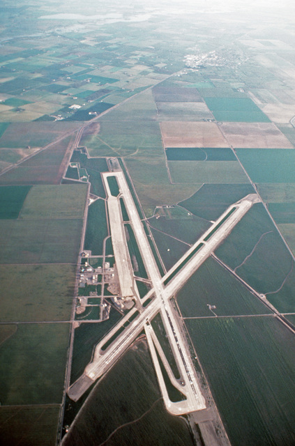 An aerial view of the airfield at Crow's Landing, a subsidiary field of Naval Air Station, Moffett Field, California