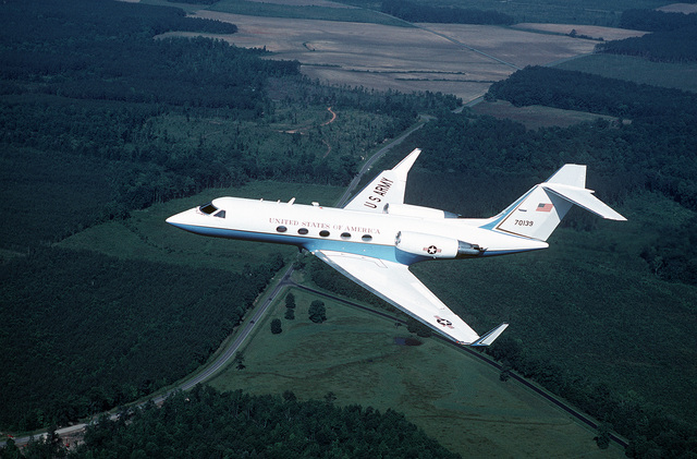 An air-to-air left side view of a C-20E Gulfstream III aircraft. The aircraft is based at Andrews Air Force Base, Md., and is used by the Army for VIP transport