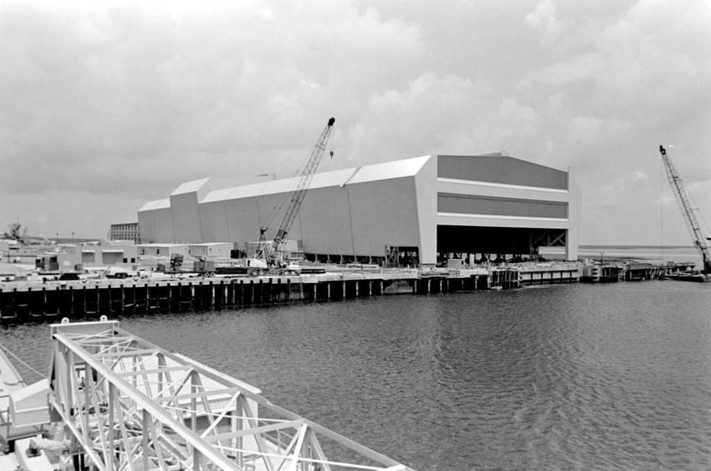 An external view of the Trident submarine refit facility during its construction