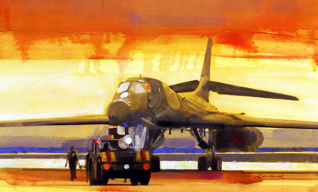 """Artwork: """"B-1B, Wright Patterson AFB"""". Artist: Phillip Renaud. US Air Force Art Collection"""