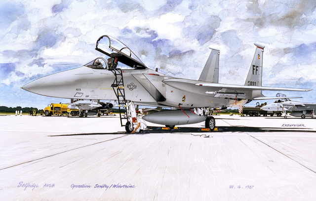 "Artwork: ""F-15 at Selfridge ANGB, Operation Sentry/Wolverine, 1987"". Artist: Paul Kreutziger. US Air Force Art Collection"