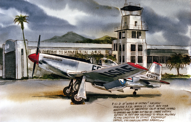 "Artwork: ""Ghosts - P51 at Hamilton"". Artist: Walter P. Stewart. US Air Force Art Collection"