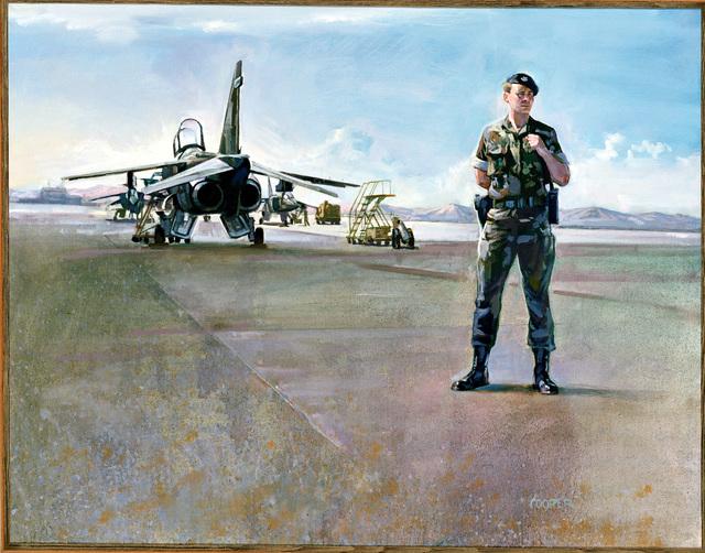 """Artwork: """"Watching Over a Friend"""". Artist: Daniel E. Cooper, US Air Force Art Collection"""