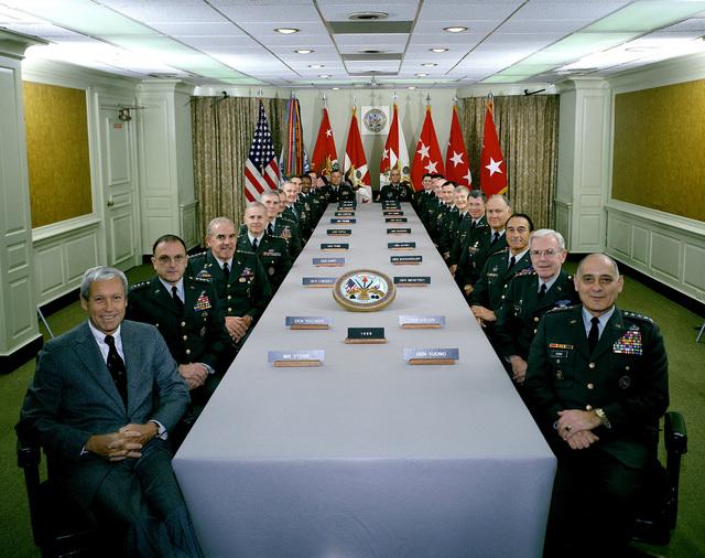 The heads of the Army's major commands gather for a conference. They are, from left: Secretary of the Army M.P. Stone, GEN R. W. RisCassi, GEN J. J. Lindsay, GEN C.E. Saint, GEN J. W. Foss, GEN W. G. T. Tuttle Jr., LGEN D.R. Palmer, LGEN R.D. Hammond, MGEN E.R. Cromartie, MGEN J. E. Major, MGEN J. R. Piatak, MSG of the Army J. W. Gates, MGEN S.H. Hyman, MGEN D.C. Hilbert, LGEN J. H. Corns, LGEN H.J. Hatch, LGEN T. D. Rodgers, GEN E. H. Burba Jr., GEN H.N. Schwarzkopf, GEN L.C. Menetrey, GEN J. R. Galvin and CHIEF of STAFF GEN C.E. Vuono