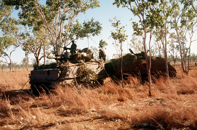 Two Australian Army M-113A1 armored vehicles sit parked in a wooded area during the joint Australian/U.S. exercise Kangaroo '89. The M-113 at left is a fire support vehicle fitted with a turret and armed with a 76mm gun; the M-113 at right is a basic armored personnel carrier/light reconnaissance vehicle