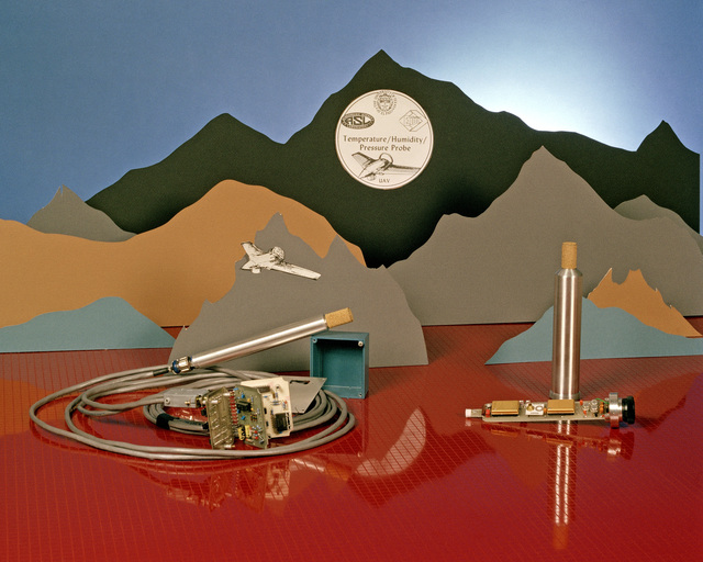 A view of the probe equipment used aboard an unmanned aerial vehicle (UAV) to measure temperature, humidity and atmospheric pressure