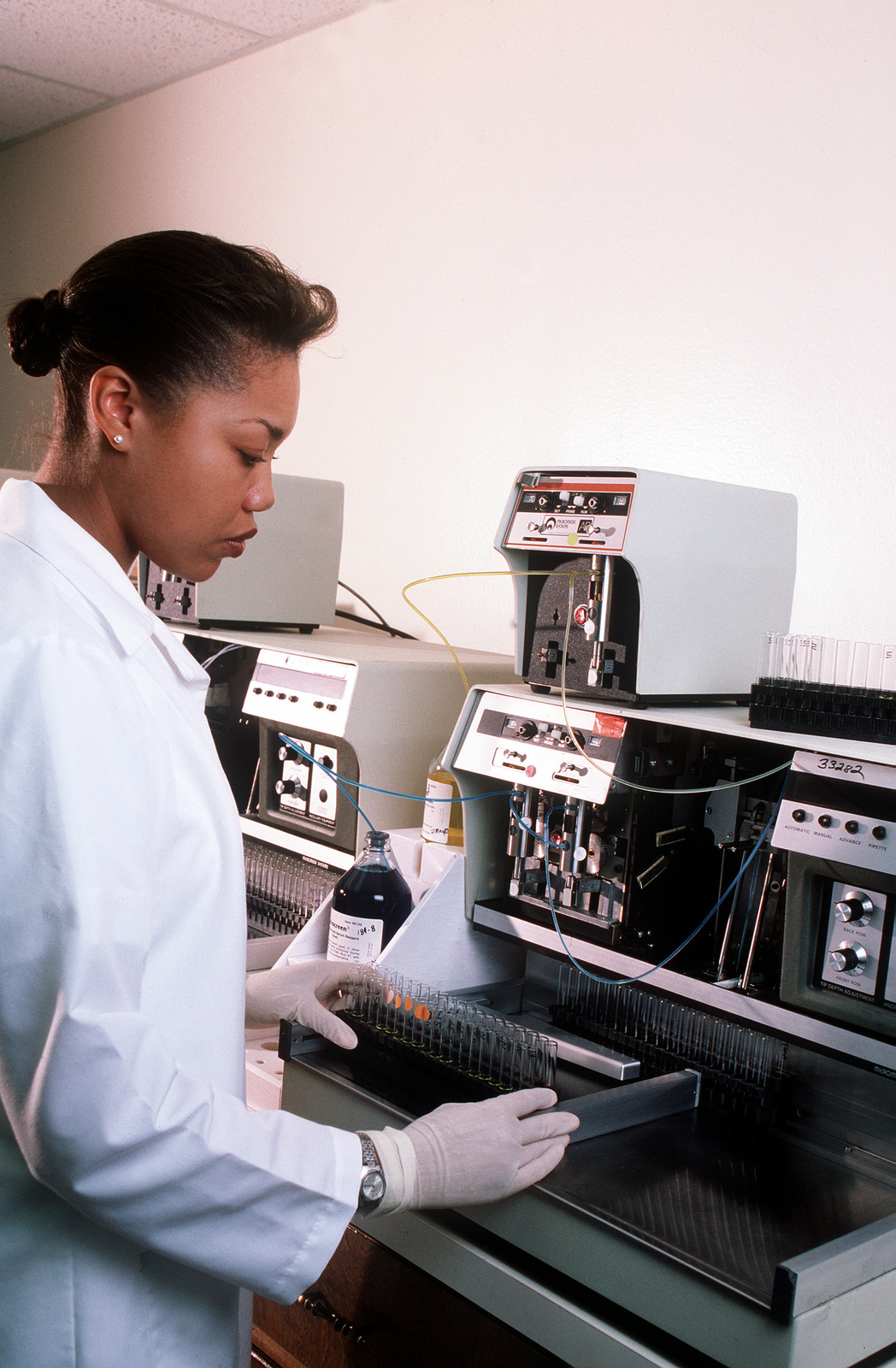 SGT Brenda Harrison, medical laboratory technician, tests a