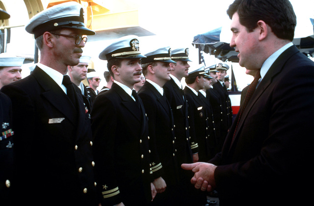 Secretary of the Navy William Ball speaks to members of the crew of the nuclear-powered strategic missile submarine USS TENNESSEE (SSBN 734) after the submarine's arrival at its new home port