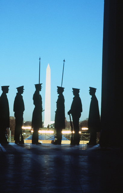 Members of the Joint Service Ceremonial Guard rehearse at the Lincoln Memorial prior to the inaugural opening ceremony for President-elect George H.W. Bush