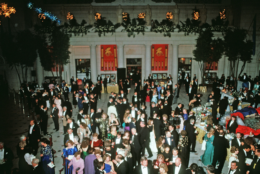 Guests attend an inaugural ball at Union Station in honor George H.W. Bush, 41st president of the United States