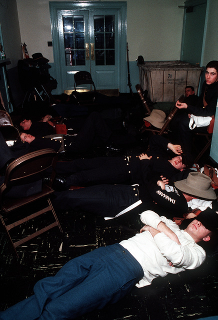 Participants in the Presidential Pageant rest before their performance in the event being held in honor of George H.W. Bush, 41st president of the United States