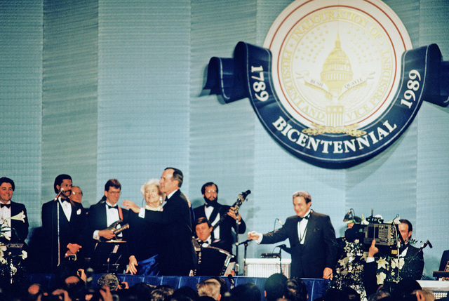 President George H.W. Bush and Barbara Bush dance during an inaugural ball in honor of the 41st president of the United States