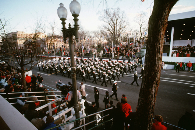 Members of the United States Navy Band perform in the Inauguration Parade for President George H.W. Bush, 41st president of the United States