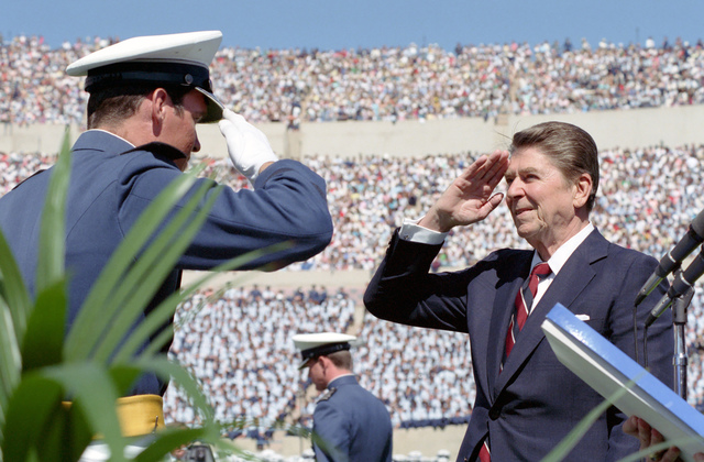 President Reagan, Saluting, Attending the Commencement Exercises for the 1984 Graduating Class of the United States Air Force Academy and Presenting Diplomas at Falcon Stadium, United States Air Force Academy